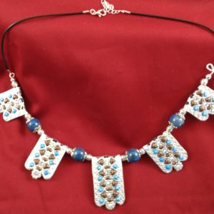 Full View of Silver Filigree with Clay and Crystal Necklace