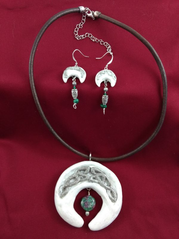 Full view of Celtic Sickle Moon Necklace with Matching Earrings
