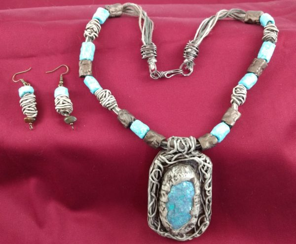 Full View of Faux Blue Opal Necklace and Matching Earrings