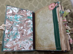 Marbled paper and first tabbed section